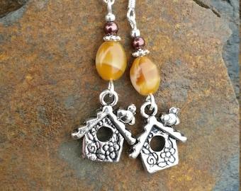 Birdhouse Earrings, Brown Birdhouse Sterling Silver Earrings, Brown Birdhouse Earrings, Silver Birdhouse Earrings