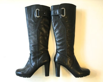 Leather Boots 90s Black Leather Tall Boots | High Heel Boots | Enzo Angiolini, 8 39