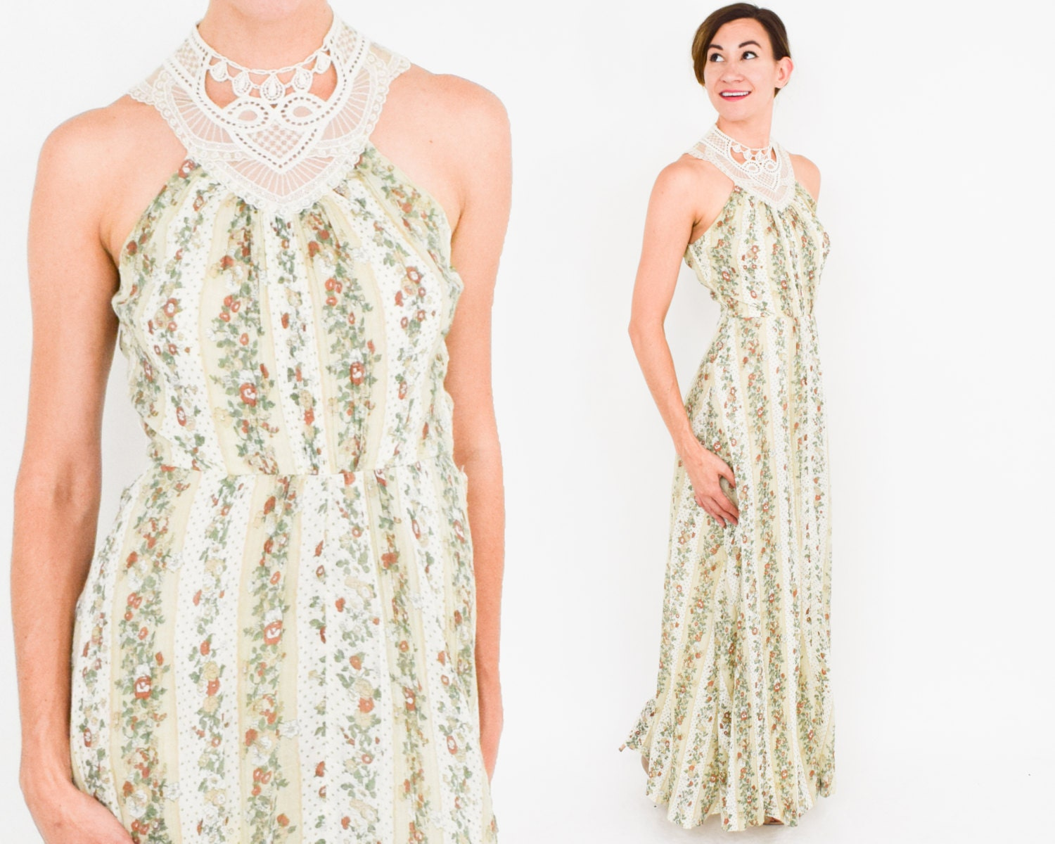 70s Floral Maxi Dress | White Lace & Tan Print Sleeveless Boho ...