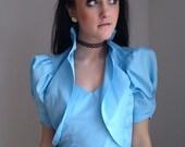 VALENTINES DAY SALE vintage 1970s maxi dress bolero Jacket cornflower blue 1940s avant garde taffeta Carrie