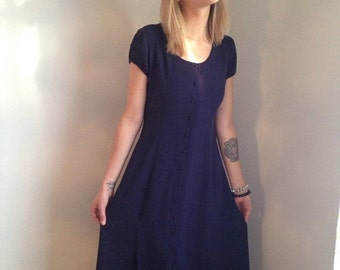 VALENTINES DAY SALE vintage 90s purple eggplant dress grunge revival button front 1930s inspired