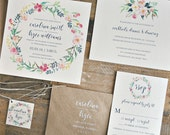 Lily Wedding Invitation Suite with Watercolor Floral Wreath and Twine Tie and Monogram Tag - Kraft Brown, Navy, Blushes  (customizable)