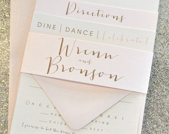 Bronson Wedding Invitation Suite with Belly Band - Champagne Gold, Blush Pink, Ivory (colors/text customizable)