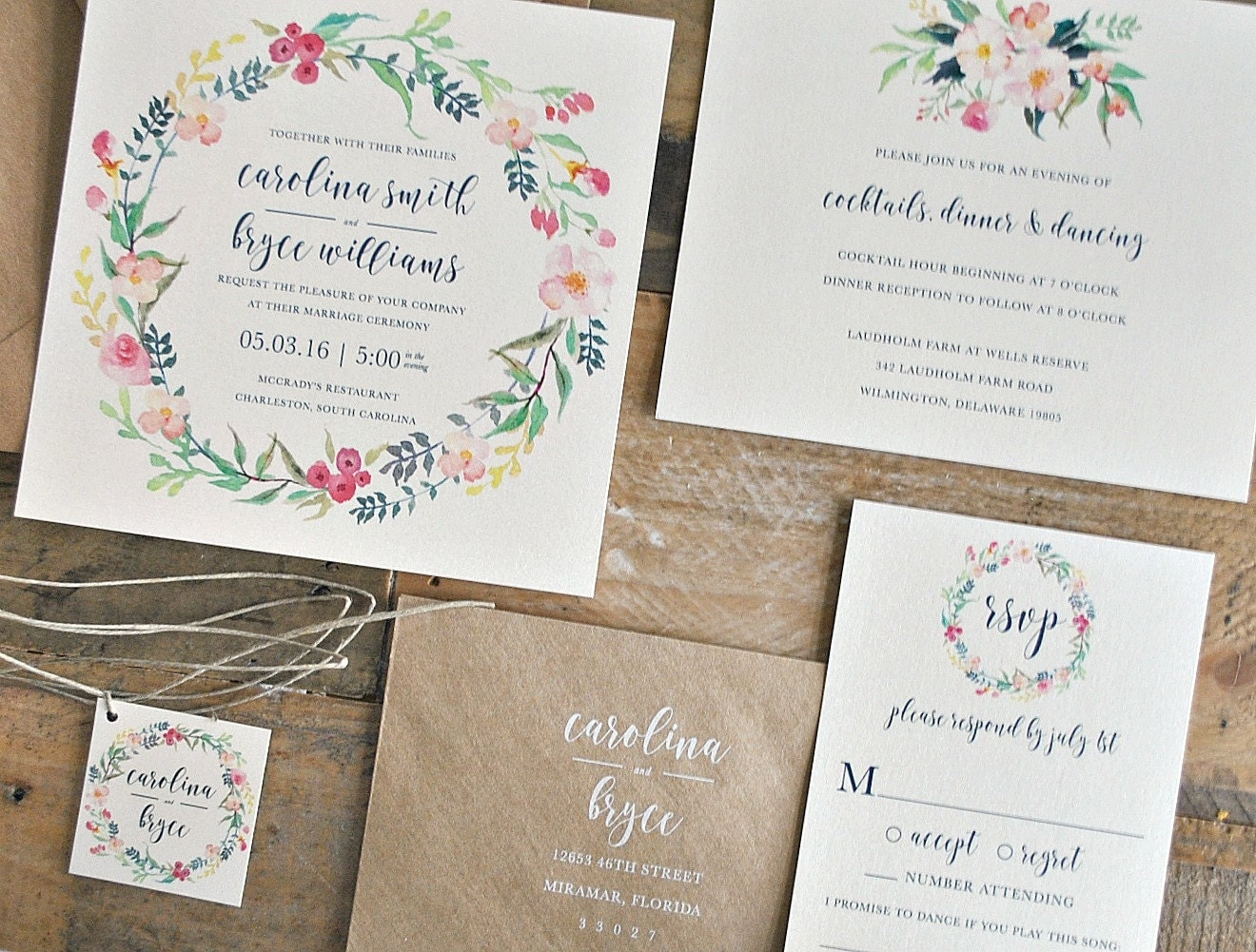 Modern Watercolor Flower Wedding Invitations Pictures Designs – Dievoon