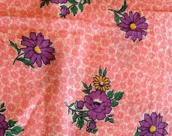 Vintage Pink floral Fabric Material Flowers Cotton Quilting Calico flour Sack