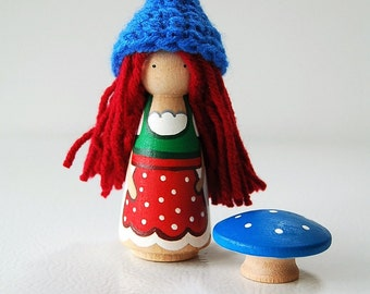 Pixie Gnome - Girl Woodland Gnome - Red Hair - Christmas Gnome - Peg Doll - Unique Gift - Zooble
