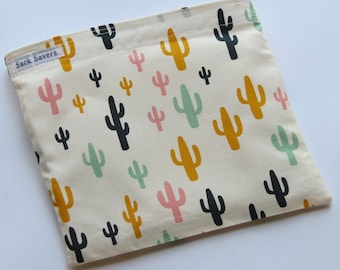Reusable Sandwich And Or Snack Bag Woodland Cactus Eco Friendly Reusable Bag