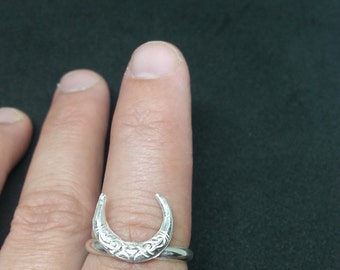 moon heart sterling silver ring