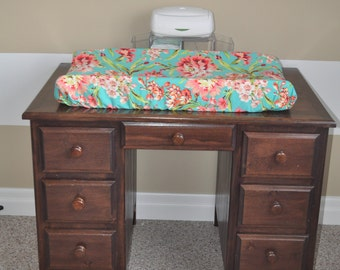 Change Pad Cover in Flower Bloom Mint Green Coral and Pink