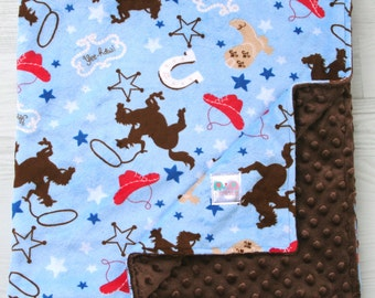 Minky Baby Blanket - Cowbow Double Minky Baby Blanket, Baby Shower Gift, Toddler Bedding, Cowboy Bedding, Stroller Blanket, Crib Bedding