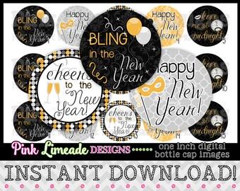 "Elegant New Year - INSTANT DOWNLOAD 1"" Bottle Cap Images 4x6 - 306"