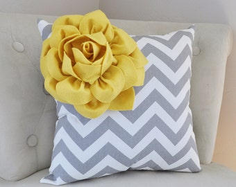 Mellow Yellow Corner Dahlia on Gray and White Zigzag Pillow 14 X 14 -Chevron Flower Pillow- Zig Zag Pillows