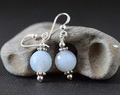Blue Lace Agate Earrings Sterling Silver Serenity Blue Earrings Sky Blue Stone Dangle Earrings Pale Blue Drops Gemstone Light Blue Wedding