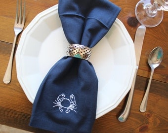 Cloth Napkins - Nautical Crab - Set of 6 - Hand Embroidered