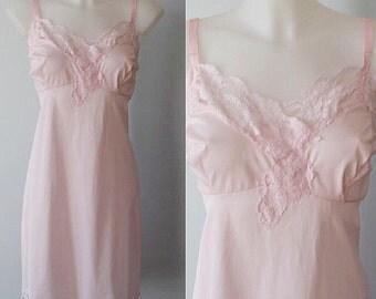 Vintage Pink Slip, Vintage Pink Full Slip, Love Lines, 1960s Pink Slip, 1960s Lingerie, Slip