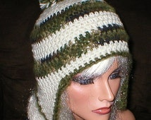 50% OFF SALE Crochet Women Teens Soft White Camouflage Moss Mohair Pom Pom Ear Flap Hat Snowboard Hat