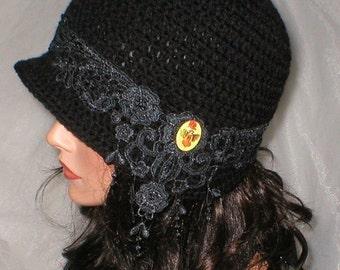 35 % OFF SALE Crochet Women 1920's Black Venise Lace Pixie Fairy Cameo Cloche Flapper Hat