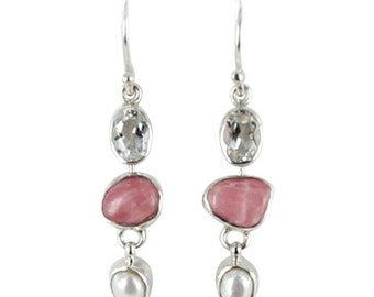Rhodochrosite Pearl Earrings Sterling