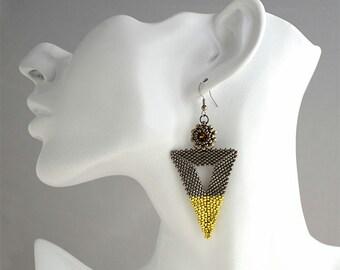 Bermuda Triangle Earrings Topaz/Steel