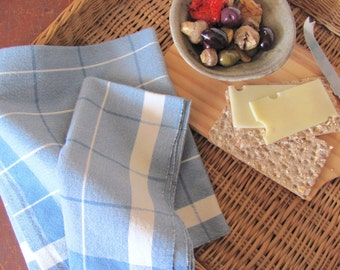 Blue Cloth Napkin, Rustic French Country Kitchen Cottage Farmhouse Decor Bread Cloth, Lunch Dining Cotton Napkin, Picnic Basket Woven Cloth