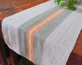 Rustic Spring Green Stripe Table Runner, French Country Farmhouse Home Decor Summer Garden Cottage Chic Hand Woven Cotton Cloth Centerpiece
