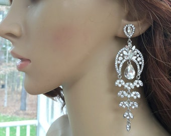 Pierced Chandelier Earrings, Pierced Rhinestone Earrings, Pierced Crystal Earrings, Pierced Bridal Earrings, Pierced wedding Earrings