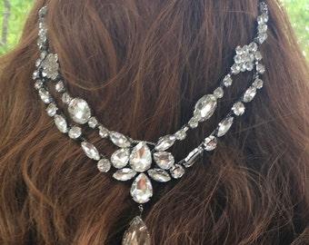 Bridal Rhinestone Tiara, Wedding Rhinestone Tiara, Back Hair Tiara, Rhinestone Crystal Headband, Crystal Bridal Headpiece