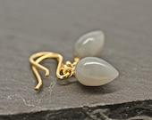 Gray Moonstone Earrings , Inverted Earrings , Tear Drop Earrings , Gray Earrings , Fine Jewelry , Acorn Earrings , Amy FIne Design