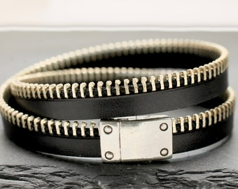 Zipper Bracelet As Seen On TV Netflix Bloodline Leather Bracelet Black Bracelet Wrap Bracelet Leather Jewelry Gift For Man Biker Cool Dad