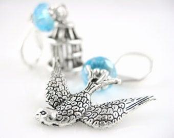 Sterling Silver Bird Earrings - Silver Dangle Earrings - Asymmetrical Earrings - Sparrow Earrings - Swallow Jewelry - Birdcage Bird Jewelry