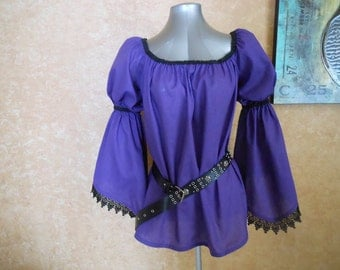 Purple Pirate Renaisssance Chemise Shirt With Lace Trim Other Colors Available. Wear It Over A Pair Of Leggings Or Under A Bodice.