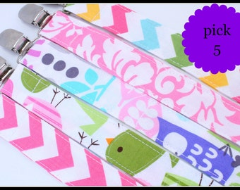 Sale- Pacifier Clip, Fabric Pacifier Clip, Pacifier Clip, Choose Any 5 Pacifier Clip Set- Pacifier Clip Bundle Set-  hot pink and aqua Binky