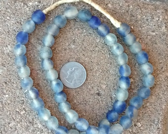 Ghana Glass Beads: Blue Cloud 10mm