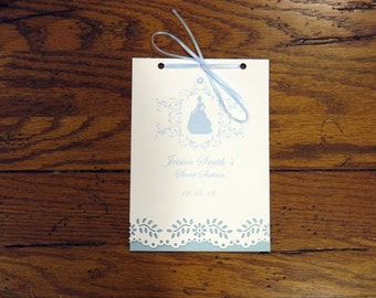 """Cinderella Sweet Sixteen Invitation Booklet 5"""" by 7"""""""