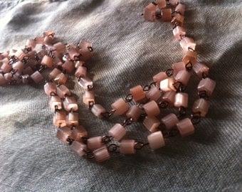 on sale 9 ft Milky pink opaline glass beaded chain aged dark patina wire links Chandelier swag Rosary chain ITALIAN GLASS