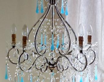 ARIANNA opaline chandelier wrought iron Murano blue opaline birdcage crystal chandelier Macaroni beads