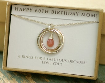 60th birthday gift idea, October birthstone necklace for mother gift for her, pink opal jewelry for wife, 6 interlocking circles - Lilia