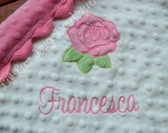 PERSONALIZED minky baby blanket- white and hot pink rose- lovey blanket