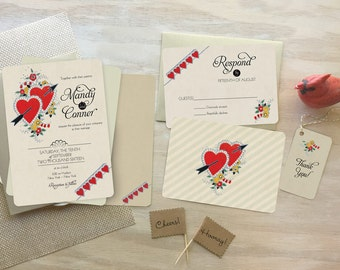 Wedding Invitations, Heart Wedding Invitation, Save the Date, Romantic Wedding Invitation, Boho Wedding, Vintage Wedding, Two Hearts
