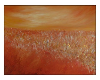 Abstract Landscape  Modern Minimalist Acrylic Painting on Canvas - 36x48 Yellow, Orange, Gold.