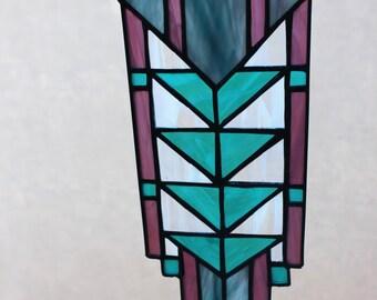 STAINED GLASS SUNCATCHER-Prairie Window Decoration, Stained Glass Window Panel, Teal Purple, Arrowhead, Under 75, Wedding Gift, Rectangular
