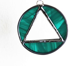 RECOVERY SUNCATCHER MINI- Teal Green Triangle in Circle Sobriety Suncatcher, Gift for Sponsor, Recovery Gift, 12 Steps. Serenity Prayer Gift