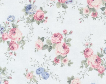 Spring Romance by Paintbrush Studio- Full or Half Yard- Light Blue Background with Pink and Blue Floral Design