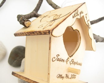 Mini Bird House with Wood Burned Dragonflies and Quote -Personalizable gift for couples