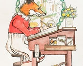 Fox at Desk - original watercolor illustration - 8 x 10 art print
