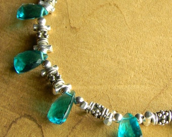 Boho Bohemian Jewelry Teal Green Choker Necklace Quartz Trillions Sterling Silver Rustic  Beaded