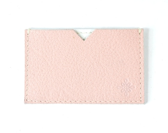 Pink Leather Business Card Wallet Handmade