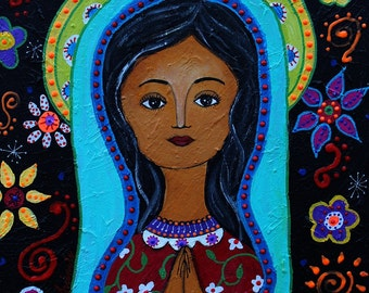 Folk Art Mexican Our Lady of Guadalupe Nuestra Señora  Original Painting