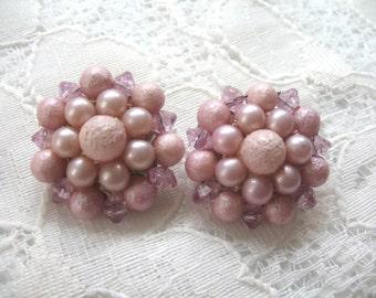 Vintage Cluster Earrings ~ Clip On ~ Lavender Plastic Beads