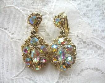 Vintage Dangle Rhinestone Earrings ~ Clip On ~ AB Crystal Rhinestones